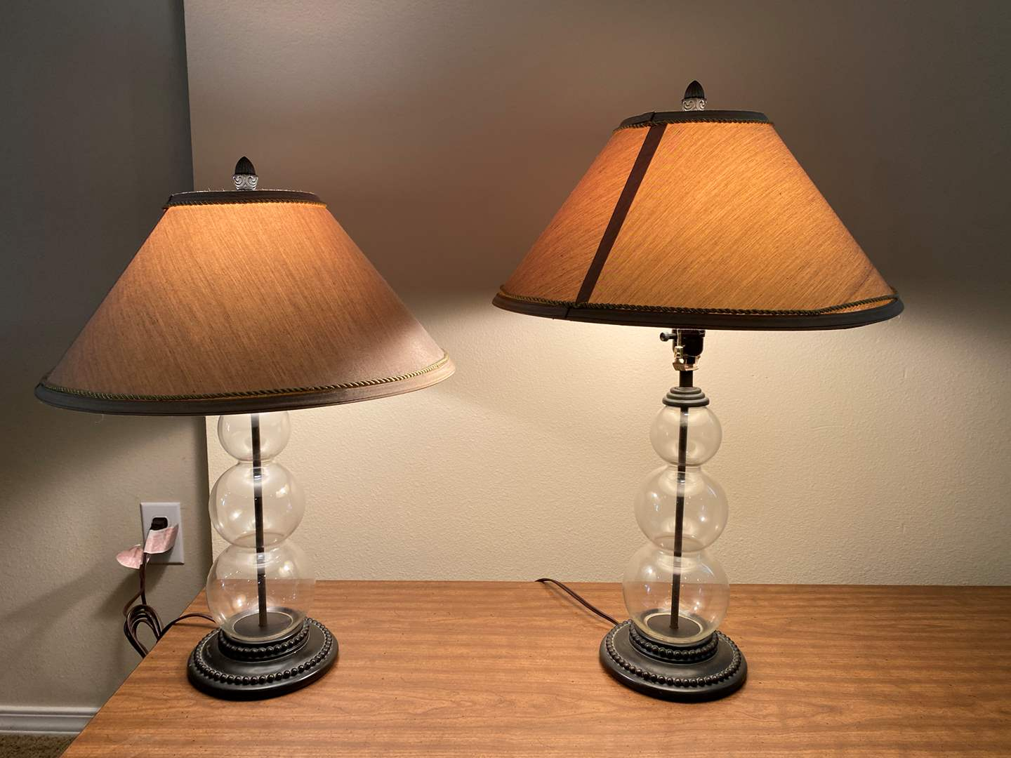Lot # 118 - Two Glass Table Lamps (main image)