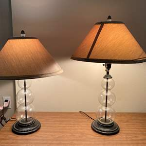 Lot # 118 - Two Glass Table Lamps