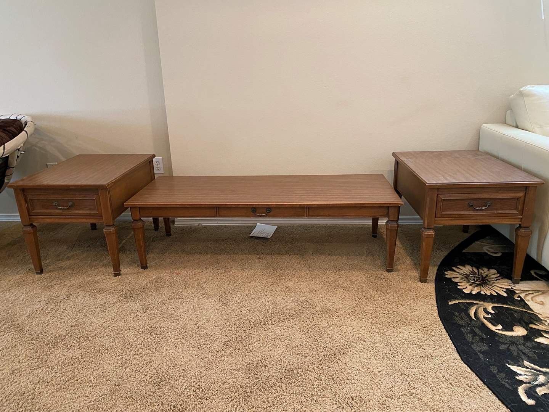 Lot # 119 - Vintage Pecan Wood Coffee Table & Side Tables (main image)
