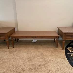 Lot # 119 - Vintage Pecan Wood Coffee Table & Side Tables