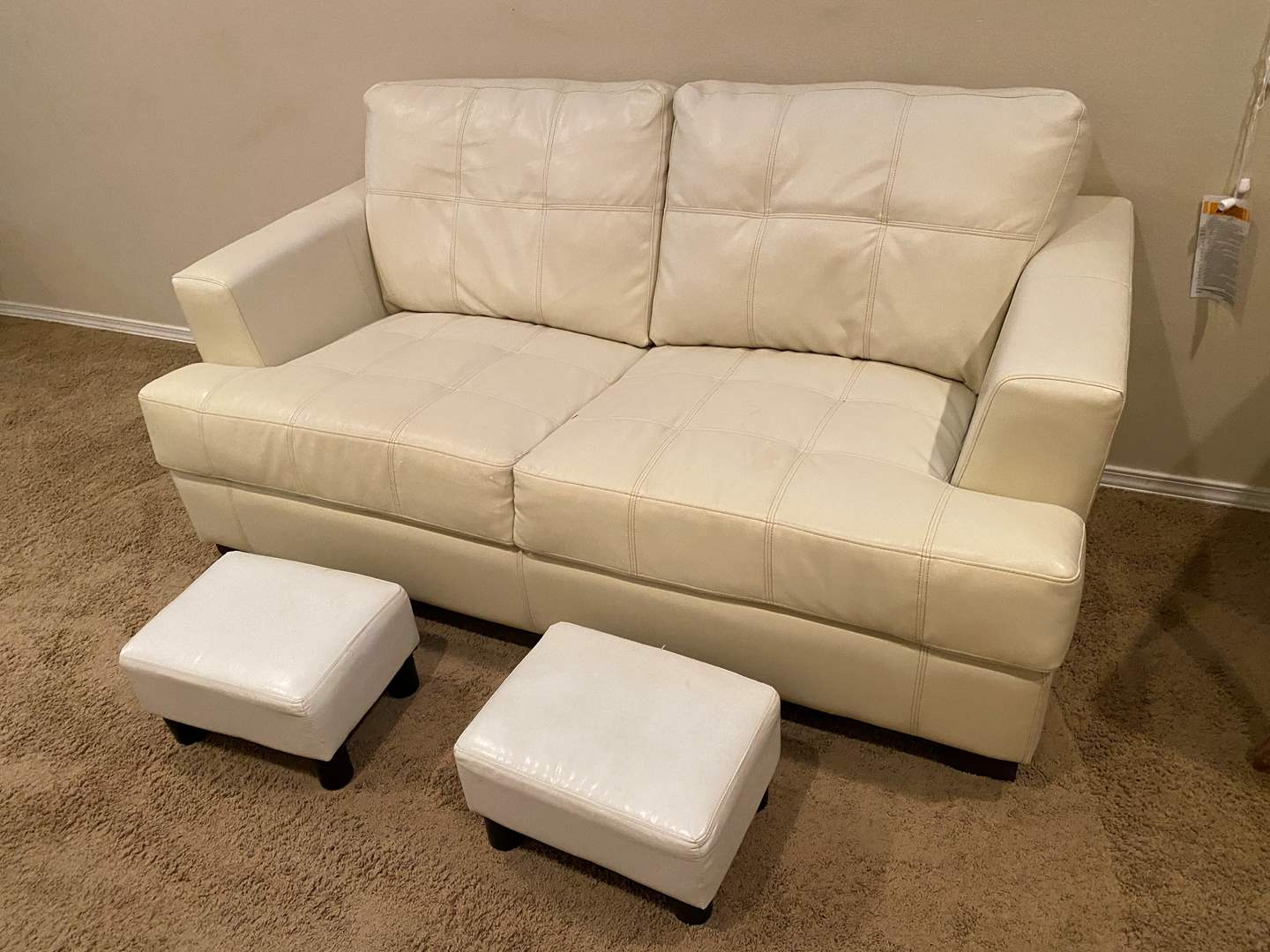 Lot # 122 - White Leather Love Seat Sofa w/ Two Foot Stools (main image)
