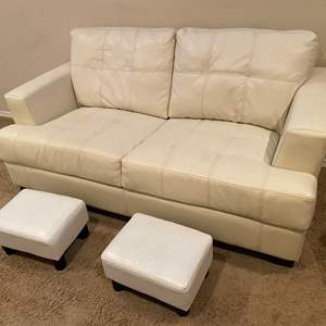 Lot # 122 - White Leather Love Seat Sofa w/ Two Foot Stools
