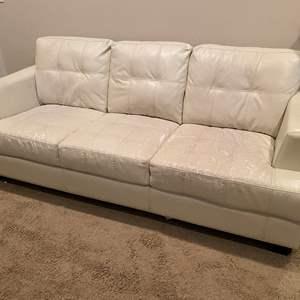 Lot # 123 - White Leather Sofa