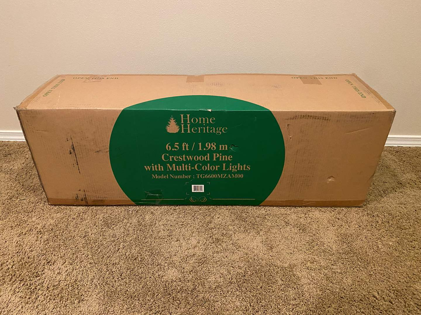 """Lot # 135 - New in Box """"Home Heritage"""" 6.5' Crestwood Pine Christmas Tree w/ Multicolored lights (main image)"""