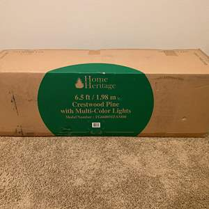 """Lot # 135 - New in Box """"Home Heritage"""" 6.5' Crestwood Pine Christmas Tree w/ Multicolored lights"""