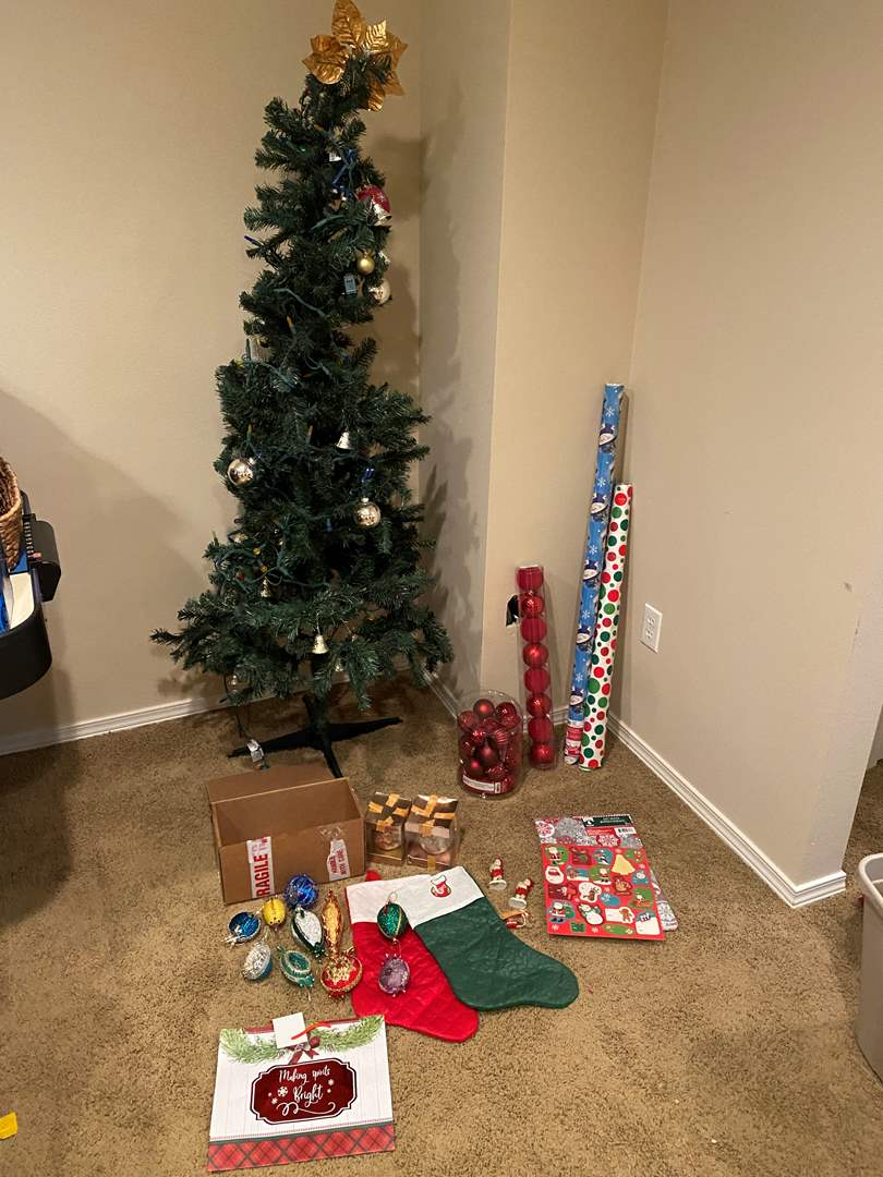 Lot # 137 - Faux Christmas Tree, Vintage Christmas Ornaments, Lights, Wrapping Paper & More (main image)