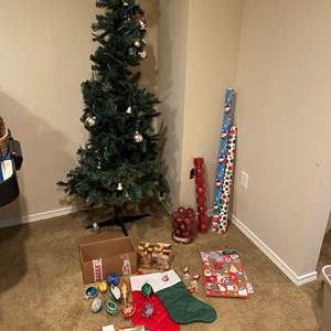Lot # 137 - Faux Christmas Tree, Vintage Christmas Ornaments, Lights, Wrapping Paper & More