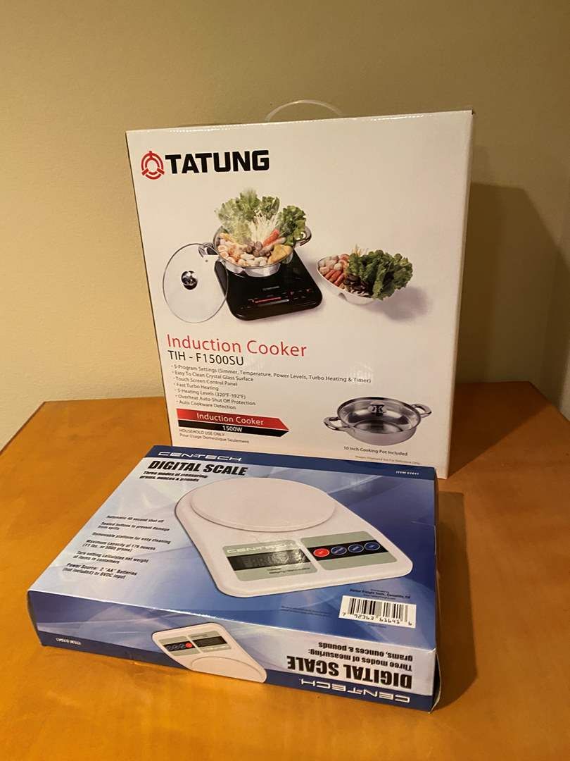 """Lot # 139 - New in Box """"Tatung"""" Induction Cooker, Gen-Tech Digital Kitchen Scale (main image)"""