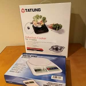 "Lot # 139 - New in Box ""Tatung"" Induction Cooker, Gen-Tech Digital Kitchen Scale"