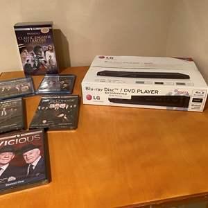 Lot # 142 - New in Box LG Blu-Ray DVD Player w/ New DVD's