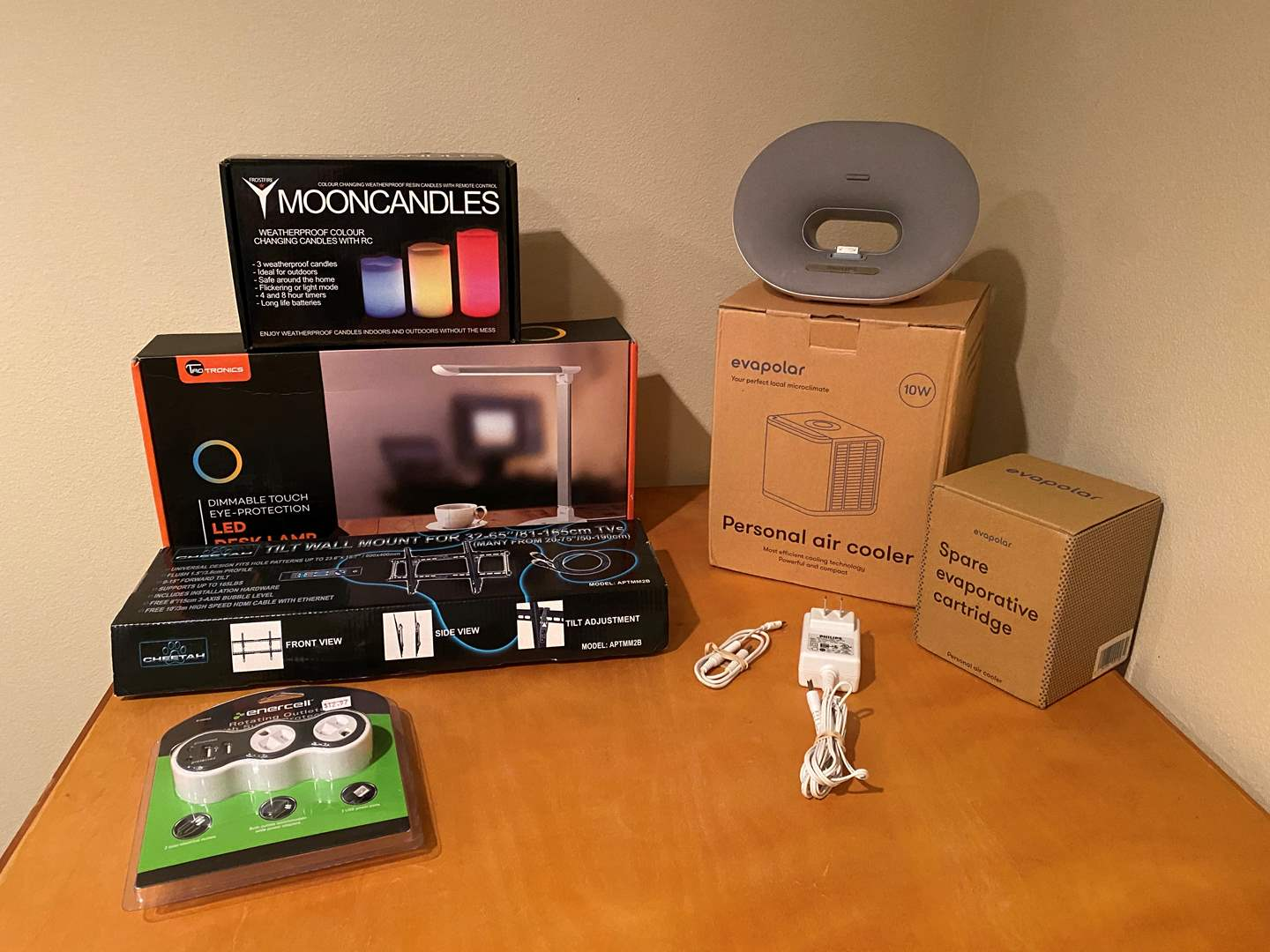 Lot # 143 - NIB Items: TV Wall Mount, Moon Candles, LED Desk Lamp, Personal Air Cooler, Rotating Outlets & More (main image)