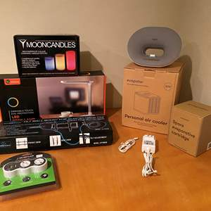 Lot # 143 - NIB Items: TV Wall Mount, Moon Candles, LED Desk Lamp, Personal Air Cooler, Rotating Outlets & More