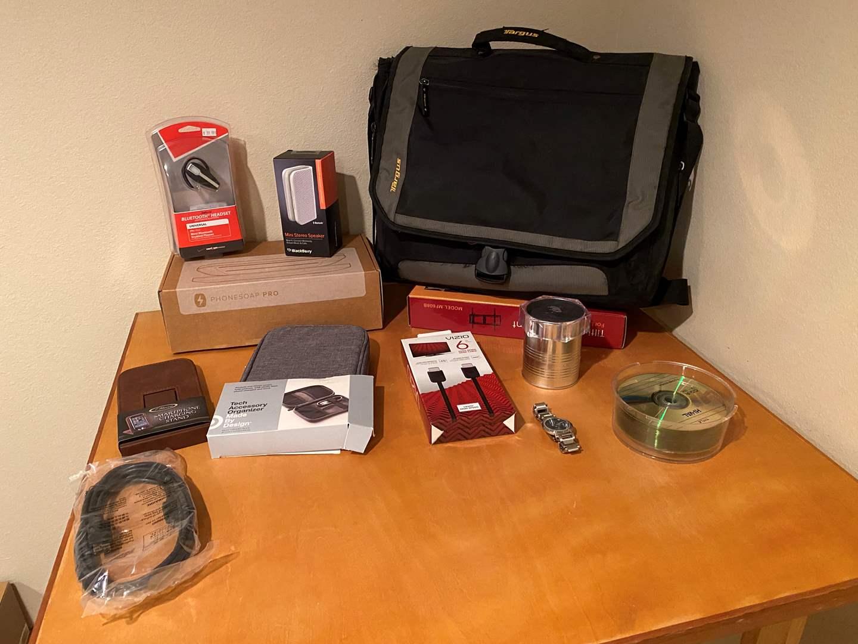 Lot # 146 - NIB Items: Phone Soap Pro, Jabra Bluetooth Headset, TV Wall Mount, Targus Laptop Bag, Blackberry Speaker & More (main image)