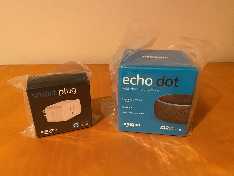 Lot # 147 - New Amazon Echo Dot & Smart Plug (main image)