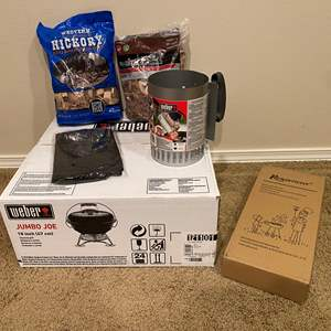 Lot # 156 - New in Box Weber Jumbo Joe Grill, New Weber Rapid Fire Starter, New Grilling Tools, Two Bags of Smoking Chips