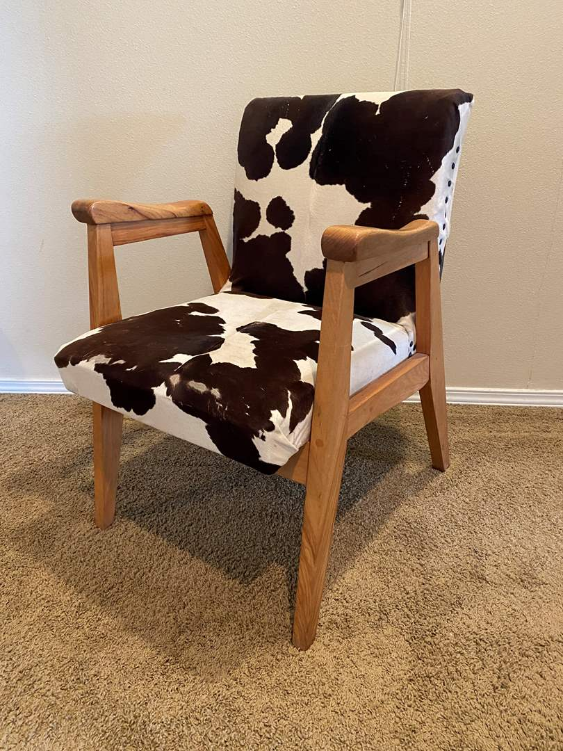 Lot # 177 - Awesome Cowhide & Wood Mid-Century Style Armchair (main image)