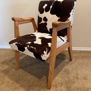 Lot # 177 - Awesome Cowhide & Wood Mid-Century Style Armchair