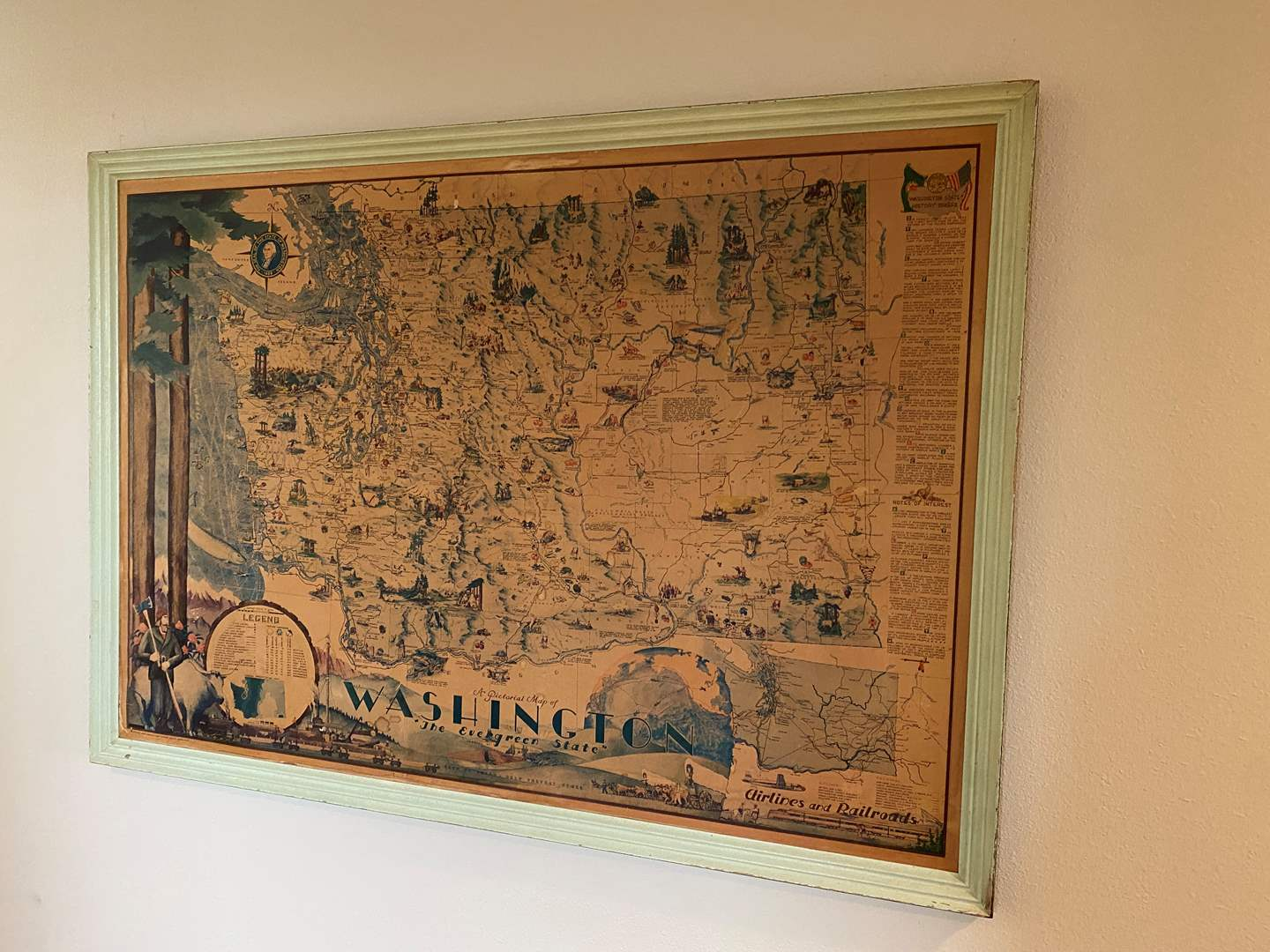 Lot # 180 - Large Vintage Pictorial Lithograph Map of Washington  (main image)