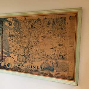 Lot # 180 - Large Vintage Pictorial Lithograph Map of Washington