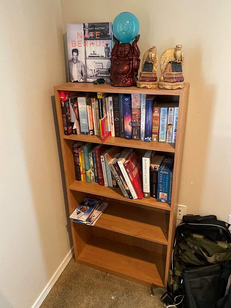 Lot # 227 - Bookshelf w/ Books, Bookends, & Buddha Lamp (main image)