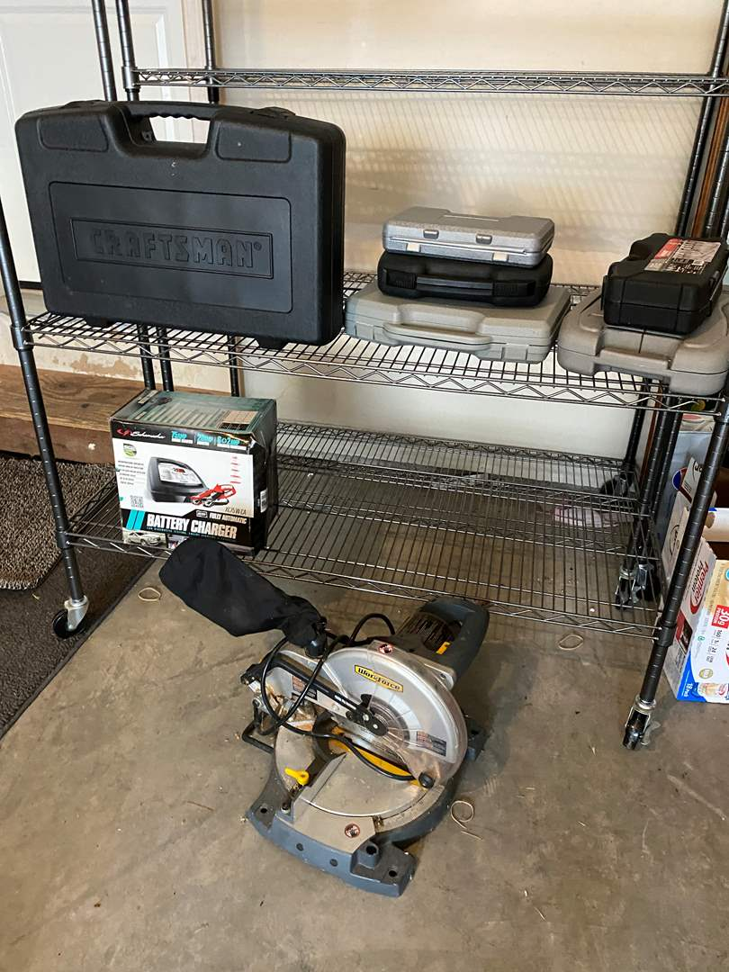 Lot # 246 - Like New Craftsman Cordless Tool Set, Workforce Chop Saw, New Battery Charger, 4 Cases of Tools (main image)