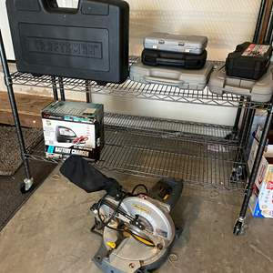 Lot # 246 - Like New Craftsman Cordless Tool Set, Workforce Chop Saw, New Battery Charger, 4 Cases of Tools