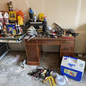 Lot # 248 - Selection of Tools: Some New, Air Tools, Screw Drivers, Chemicals, Hardware & More
