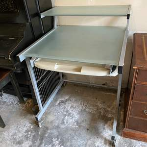 Lot # 249 - Glass Top Rolling Computer Desk