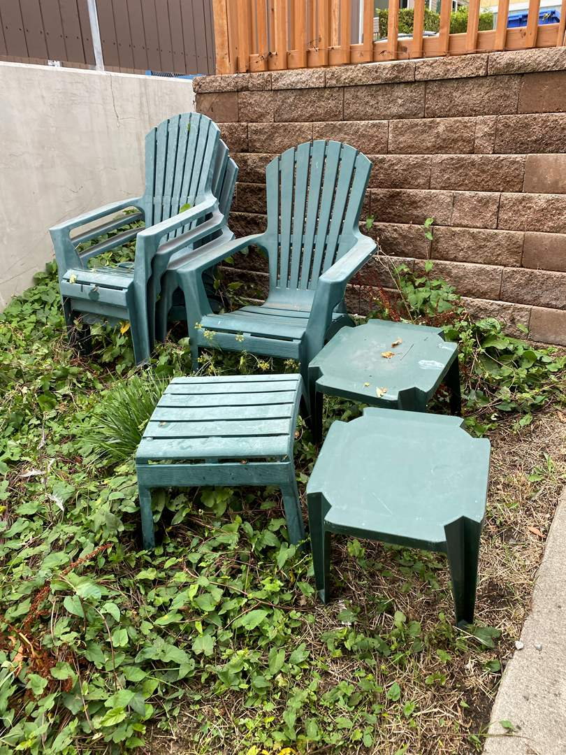 Lot # 251 - Four Plastic Lounge Chairs w/ Tables (main image)