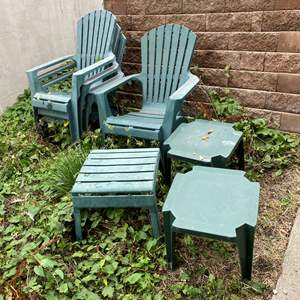 Lot # 251 - Four Plastic Lounge Chairs w/ Tables