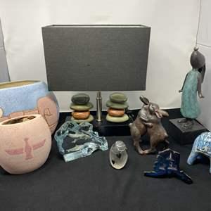 Lot # 29 - Pottery, Rock Lamp, Metal Alaska Art & More