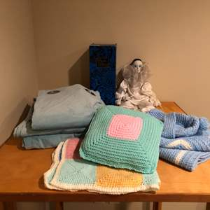 Lot # 129 - Handmade Baby Blankets, New Curtains, Asian Porcelain Doll & More
