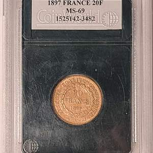 Lot # 16 1897 20 Francs Coin- Will Ship. Updated Photos w/Weight