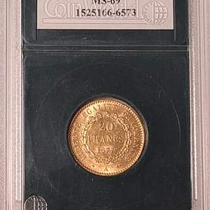 Lot # 17 1877 20 Francs Coin- Will Ship. Updated Photos w/Weight