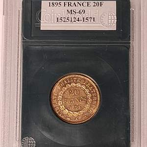 Lot # 18 1895 20 Francs Coin- Will Ship. Updated Photos w/Weight
