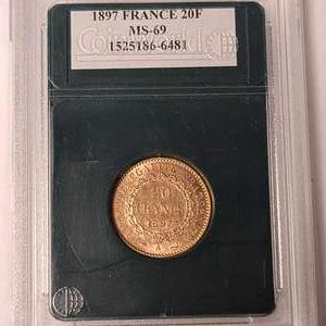 Lot # 19 1897 20 Francs- Will Ship. Updated Photos w/Weight