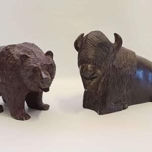 Lot # 26  Wood Hand Carved Bison & Bear
