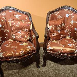 Lot # 32 Beautiful Upholstered Parlor Chairs & Matching Pillows #2