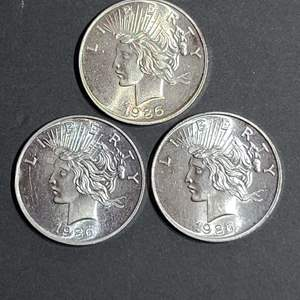 Lot # 55 1986 Peace Silver Rounds- Will Ship