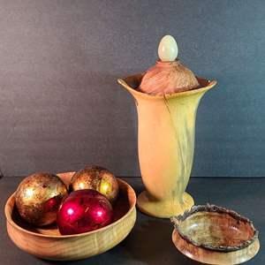 Lot # 66 Burl Wood Vase & Wooden Bowls
