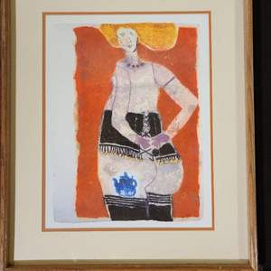 """Lot # 75 Signed Theo Tobiasse Lithograph """"Dame a la theiere bleue"""""""