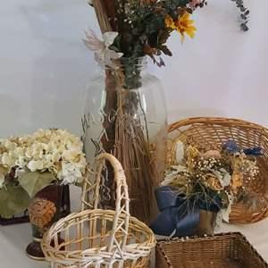 Lot # 113 Faux Houseplants & Baskets