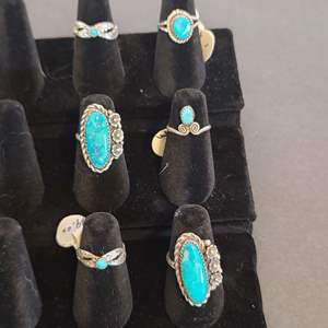 Lot # 122 Women's Silver & Turquoise Navajo Rings
