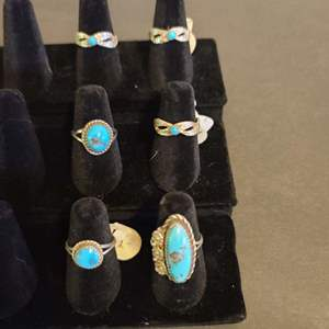 Lot # 123 women's Sterling & Turquoise Navajo Rings
