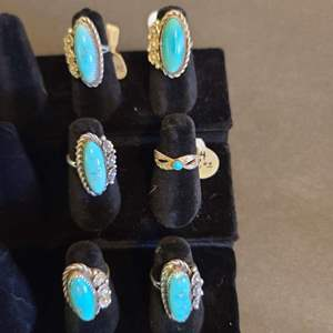 Lot # 124 women's Sterling & Turquoise Rings