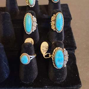 Lot # 125 women's Sterling & Turquoise Navajo Rings