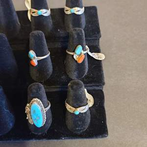 Lot # 126 Women's Sterling & Turquoise Navajo Rings