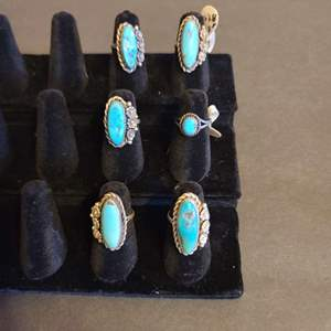 Lot # 127 Women's Sterling & Turquoise Navajo Rings