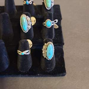 Lot # 128 Women's Sterling & Turquoise Navajo Rings