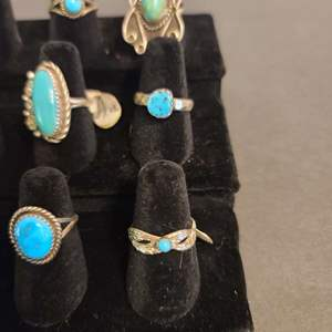Lot # 129 Women's Sterling & Turquoise Navajo Rings